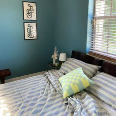 NOVELTY WAVE, warm blue paint color by Backdrop. Best Bedroom Paint Colors, Blue Paint Colors, Interior Walls, Interior Colors, Canvas Drop Cloths, Exterior Paint, Colorful Interiors, Wave, Home Decor