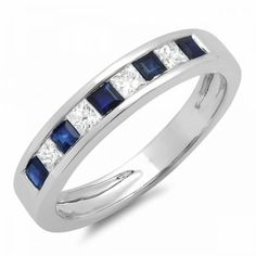 Share for $20 off your purchase of $100 or more! 0.50 Carat (ctw) 10K White Gold Princess Cut White Diamond & Blue Sapphire Ladies Anniversary Wedding Band Stackable Ring 1/2 CT - Dazzling Rock #https://www.pinterest.com/dazzlingrock/