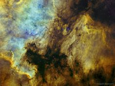 Here lie familiar shapes in unfamiliar locations. On the left is an emission nebula cataloged as NGC 7000, famous partly because it resembles our fair planet's continent of North America. The emission region to the right of the North America Nebula is IC 5070, also known for its suggestive outlines as the Pelican Nebula. Separated by a dark cloud of obscuring dust, the two bright nebulae are about 1,500 light-years away. At that distance, the 4 degree wide field of view spans 100…
