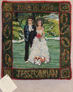 'Jesse's Wedding'  designed and hooked by Pat Merikallio