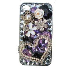 $32.99 Handmade Crystal Luxury Bling w/Swarovski Plating 3D Heart Iphone 4/4s on Clear Case Cover by Jersey Bling  www.jerseybling.net