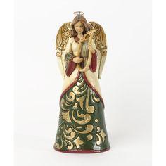 Holiday Harmony-Green/Ivory Angel With Harp Figurine
