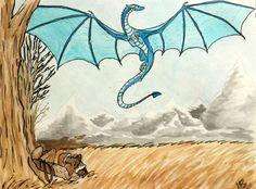 Eragon watching as Saphira flys