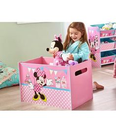 Flowers and Birds Toy Box Wooden Toy Boxes, Wooden Toys, Cardboard Furniture, Kids Furniture, Pink Toy Box, Minnie Mouse Toys, Toddler Rooms, Bird Toys, Wood Crates