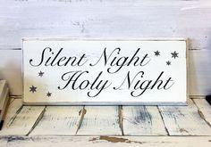 Christmas Home Decor, Silent Night, Holy Night, Wood Sign, Vintage, Shabby Chic Christmas Decor, Decorations, Holidays Decor