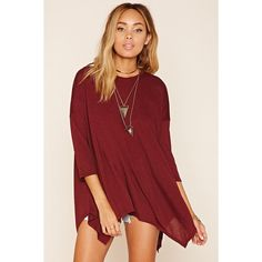 Drapey Trapeze Tee ($7.90) ❤ liked on Polyvore featuring tops, t-shirts, knit top, 3/4 length sleeve tops, drapey tee, drape top and red t shirt