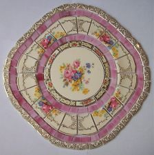 SHABBY MOSAIC TILE SET ~ PINK ROSE SQUARE DIAMOND ~ VINTAGE CHINA STAINED GLASS