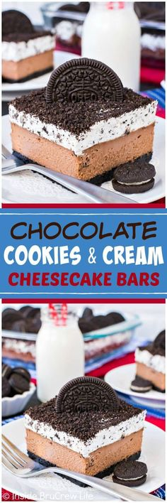 Chocolate Cookies and Cream Cheesecake Bars | Posted By: DebbieNet.com