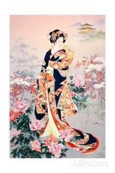 Geisha and flower illustration Geisha Kunst, Geisha Art, Geisha Drawing, Geisha Makeup, Art Asiatique, Art Japonais, Japanese Geisha, Japanese Kimono, Japanese Painting