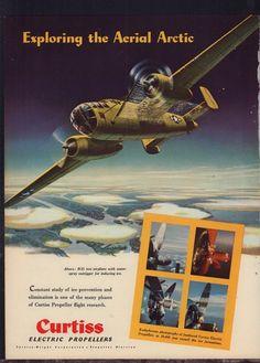 1943 WW II North American MITCHELL B-25 over Arctic WWII WW2 Curtiss AD
