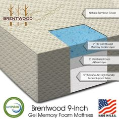 brentwood gel infused hd memory foam special rv replacement mattress made in usa certipur foam warranty natural bamboo cover rv short queen size 60 x