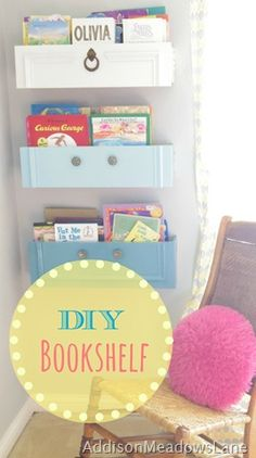 Drawers into book shelves so adorable for Emma's room.