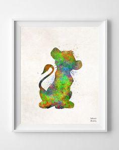 Simba Disney Plakat Grafik Aquarell Babyparty von InkistPrints
