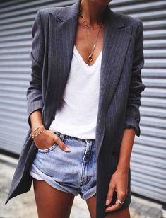 #fall #outfits gray pin-striped suit jacket