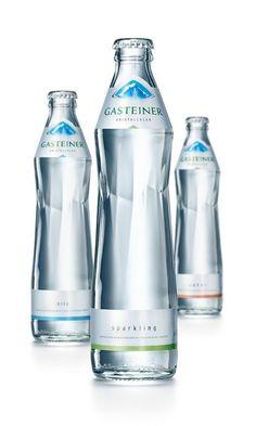 Rebranding for Gasteiner Mineral Water (Grey Swell Bottle) Water Packaging, Water Branding, Bottle Packaging, Juice Packaging, Water Bottle Design, Water Bottle Labels, Pet Bottle, Label Design, Packaging Design