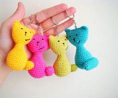 Crochet keychain amigurumi cat thank you gift ideas cat keychain keyring cool…