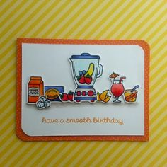 """A birthday card made with the """"So Smooth"""" stamp set from """"lawn Fawn""""."""