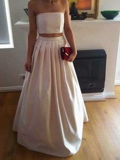 Gorgeous Two Piece Ivory Satin Party Dresses, Two Piece Prom Dresses 2017, Party Dresses, Satin Long Formal Gowns
