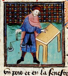 Merchant with scales, table and purse. France 15th cent. Royal 19 BL   Flickr - Photo Sharing!