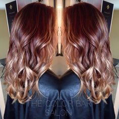 Red brown to blonde ombré