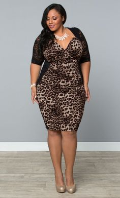 at Kiyonna Clothing Stop and Stare Ruched Dress in black & leapard