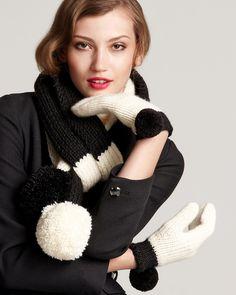 Kate Spade pom pom scarf & mittens