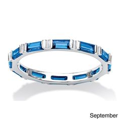 Palm Beach Jewelry PalmBeach Baguette Birthstone Stackable Eternity Band in .925 Sterling Silver Color Fun (Size 5 - September - Simulated Sapphire), Women's, White