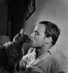 Cat guy Marlon Brando kisses his cat on the mouth. :)