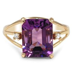 The Carmen Ring - This glamorous Retro-era cocktail ring mesmerizes with the rich purple of an emerald-cut Amethyst. Two twinkling round Diamonds and warm yellow gold beautifully highlight the center gem (approx. Jewelry Rings, Jewelry Accessories, Fine Jewelry, Jewelry Design, Jewlery, Gold Jewellery, Silver Jewelry, Amethyst Jewelry, Antique Engagement Rings