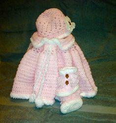 Baby Girl Winter Set (poncho, loop booties, beanie) - Crochet creation by Terri