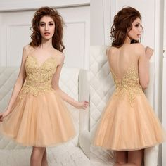 lh1 spaghetti straps backless zipper appliques shortmini champagne homecoming dresses, cheap tulle homecoming dresses
