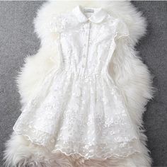 Handmade embroidered dress in white