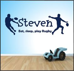 RUGBY WALL ART EAT SLEEP PLAY Quote Stickers, Wall Decals, Words Lettering