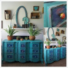 Let's start the day with some color! Door On the Right went bold with this… Furniture Makeover, Diy Furniture, French Provincial Dresser, General Finishes, Klein Blue, Milk Paint, All The Colors, Wood Crafts, Solid Wood