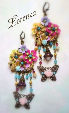 Longues boucles romantiques shabby bohême multicolores : Boucles d'oreille par lorenza