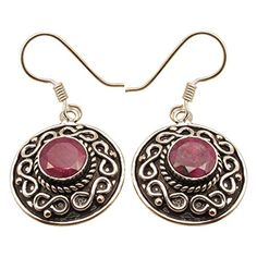 925 Sterling Silver Plated RED Round RUBY Antique Style Earrings, Made In India Online Jewelry Store - http://www.jewelryfashionlife.com/925-sterling-silver-plated-red-round-ruby-antique-style-earrings-made-in-india-online-jewelry-store/