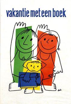 """""""vakantie met een boek (holiday with a book)"""" Poster, 1960"""