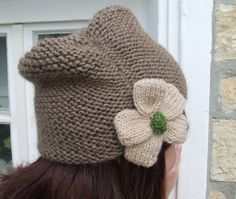 Slouch hat    beanie hat    pinch hat    beanie with by WoolieBits
