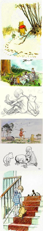 Las ilustraciones originales de Ernest H. Shepard para el libro HISTORIAS DE WINNY DE PUH escritas por A.A.Milne. Estos originales a todo color, fueron el pilar que convirtieron a Winnie de Pooh en un mito moderno de la cultura popular. ¡Enternecedoras!