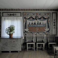 An old Swedish cottage with walls painted in traditional folk art in blues, grey. An old Swedish cottage with walls painted in traditional folk art in blues, greys and red. Swedish Interior Design, Swedish Interiors, Country Interior, Cottage Interiors, Swedish Cottage, Swedish Decor, Swedish Style, Swedish House, Scandinavian Folk Art