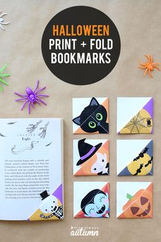 These Halloween bookmarks are fun, easy and cheap Halloween crafts for kids. Simply print out the te Imprimibles Halloween, Manualidades Halloween, Cheap Halloween, Halloween Prints, Halloween Crafts For Kids, Cool Halloween Costumes, Halloween Design, Halloween Decorations, Happy Halloween