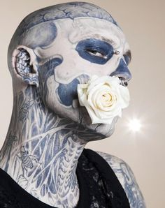 Rick Genest aka Zombie Boy photographed by Sabine Villiard Rick Genest, Satan, Zombie Man, Rose Croix, Trash Polka Tattoo, Halloween Contacts, Boy Tattoos, Bloom, Cover Tattoo