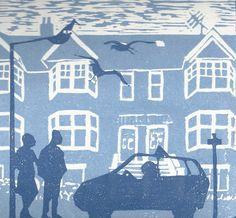 Items similar to Taxi by blue town houses original lino cut on Etsy Haida Art, Encaustic Painting, Chalk Pastels, Wood Engraving, Aboriginal Art, Textile Artists, Linocut Prints, Woodblock Print, Wood Print