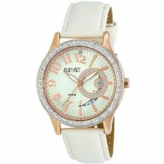 August Steiner Women's ASA842RG Diamond Quartz Watch August Steiner. $99.00. Diamond at 12 o'clock and glitter at 3 o'clock. Bold rose-tone arabic numerals and baton hour markers. Genuine crystals adorn the bezel. Date display at 3 o'clock. White etched sunray dial