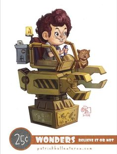Fan Art of Geeky Characters as Kids on Kiddy Rides http://geekxgirls.com/article.php?ID=3152
