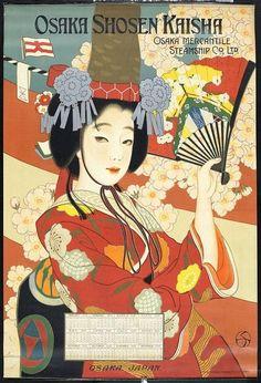 Title: Osaka Shosen Kaisha = Osaka Mercantile Steamship Co. [Woman in red kimono] Description: Osaka Mercantile Steamship Co. A woman in red kimono holding a fan. Japanese Poster, Japanese Prints, Vintage Travel Posters, Vintage Ads, Poster Vintage, Character Illustration, Illustration Art, Art Asiatique, Japanese Graphic Design