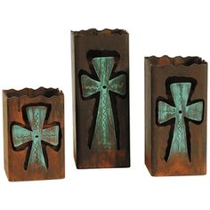 Rustic Metal Cross Candle Holders - Set of 3