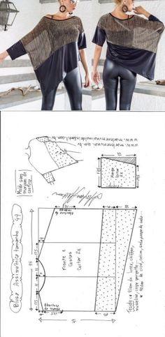 Blusa assimétrica dois tecidos | DIY - molde, corte e costura - Marlene Mukai