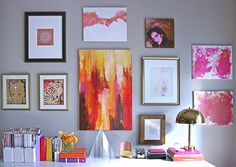 colorful mixed gallery wall