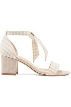 Alexandre Birman - Clarita Bow-embellished Gingham And Canvas Sandals - Beige